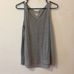 Flowy gray blouse tank with semi sheer details